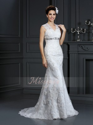 Sleeveless V-neck Lace Sweep/Brush Train Ivory Wedding Dresses