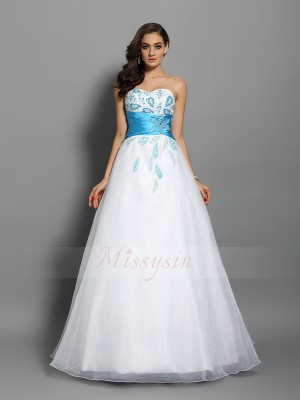 Ball Gown Sleeveless Sweetheart Satin Long White Dresses