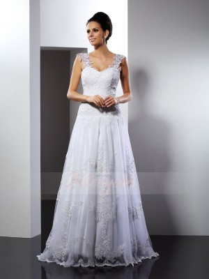 Sleeveless Straps Lace Court Train White Wedding Dresses