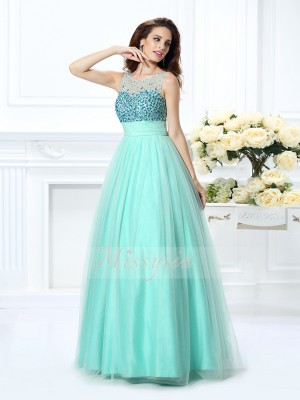 Ball Gown Sleeveless Bateau Chiffon Long Sage Dresses
