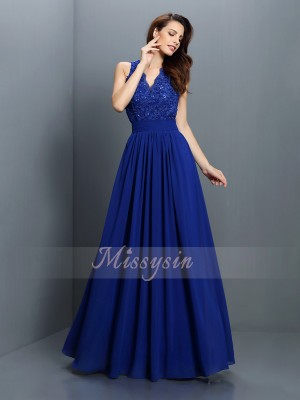 Sleeveless V-neck Chiffon Long Royal Blue Bridesmaid Dresses