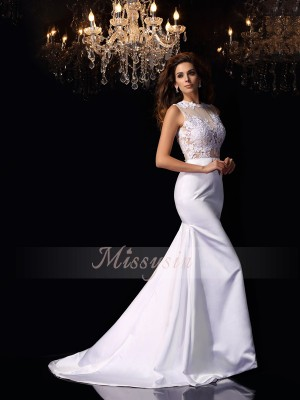 Sleeveless High Neck Satin Chapel Train White Wedding Dresses
