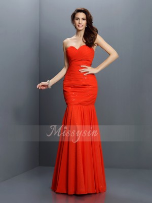 Sleeveless Sweetheart Chiffon Long Red Bridesmaid Dresses