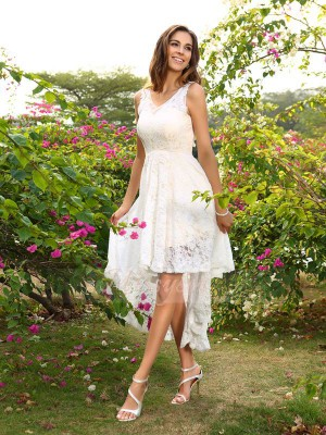 Sleeveless V-neck Lace Asymmetrical White Bridesmaid Dresses