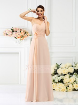 Sleeveless One-Shoulder Chiffon Long Pearl Pink Bridesmaid Dresses