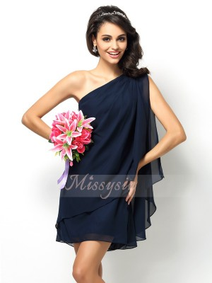 Sleeveless One-Shoulder Chiffon Short/Mini Dark Navy Bridesmaid Dresses