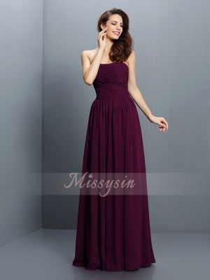 Sleeveless Strapless Chiffon Long Grape Bridesmaid Dresses