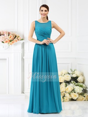 Sleeveless Bateau Chiffon Long Blue Bridesmaid Dresses