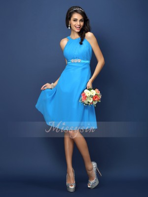 Sleeveless Bateau Chiffon Knee-Length Blue Bridesmaid Dresses