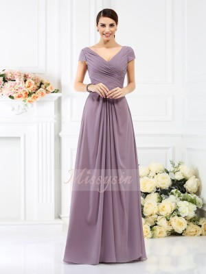 Short Sleeves V-neck Chiffon Long Brown Bridesmaid Dresses
