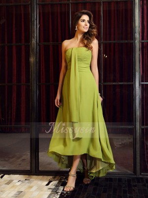 Sleeveless Strapless Chiffon Asymmetrical Green Bridesmaid Dresses
