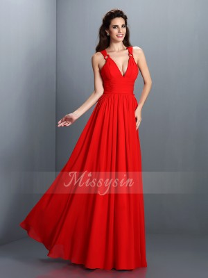 Sleeveless V-neck Chiffon Long Red Dresses