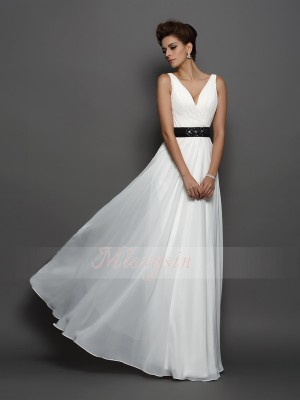 Sleeveless V-neck Chiffon Long Ivory Wedding Dresses