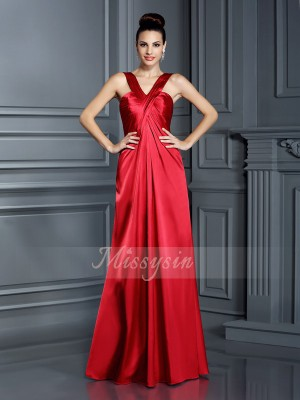 Sleeveless Straps Elastic Woven Satin Long Red Bridesmaid Dresses