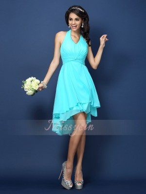 Sleeveless Halter Chiffon Short/Mini Blue Bridesmaid Dresses