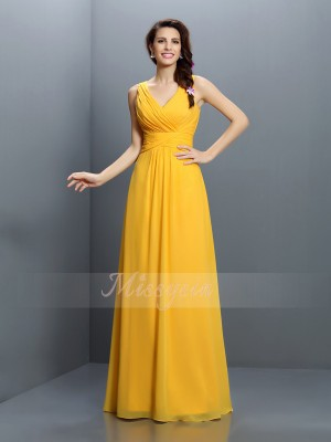 Sleeveless V-neck Chiffon Long Yellow Bridesmaid Dresses