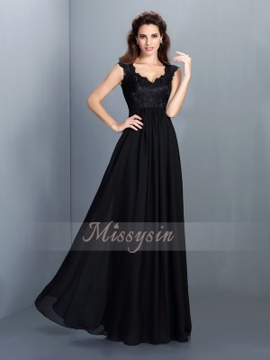 Sleeveless Scoop Chiffon Long Black Bridesmaid Dresses