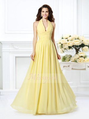 Sleeveless Halter Chiffon Long Daffodil Dresses