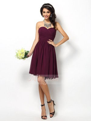 Sleeveless Sweetheart Chiffon Short/Mini Lilac Bridesmaid Dresses