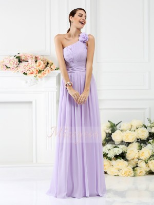 Sleeveless One-Shoulder Chiffon Long Lavender Bridesmaid Dresses