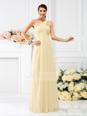 Sleeveless One-Shoulder Chiffon Long Daffodil Bridesmaid Dresses
