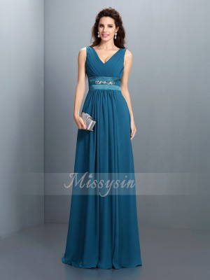 Sleeveless V-neck Chiffon Long Dark Green Bridesmaid Dresses