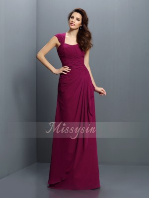 Sleeveless Straps Chiffon Long Burgundy Bridesmaid Dresses