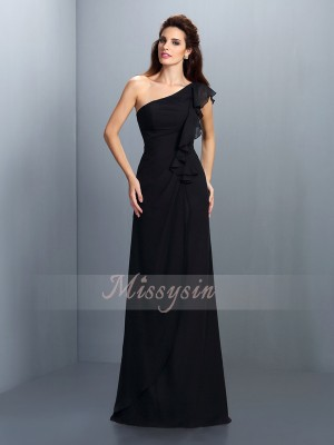 Sleeveless One-Shoulder Chiffon Long Black Bridesmaid Dresses