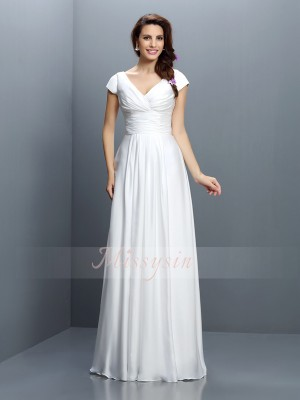 Short Sleeves V-neck Chiffon Long White Bridesmaid Dresses