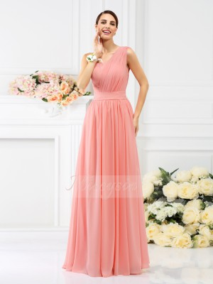 Sleeveless One-Shoulder Chiffon Long Pink Bridesmaid Dresses