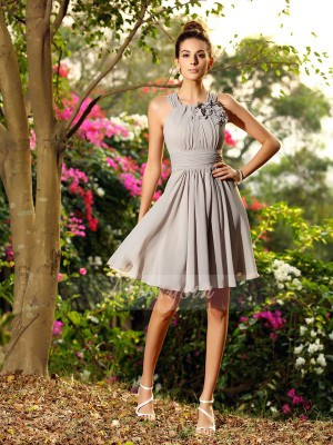 Sleeveless Scoop Chiffon Knee-Length Silver Bridesmaid Dresses