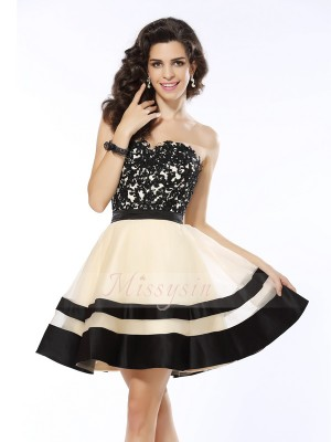 Sleeveless Sweetheart Organza Short/Mini Black Cocktail Dresses