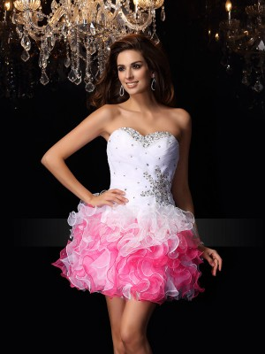 Sleeveless Sweetheart Organza Short/Mini White Cocktail Dresses