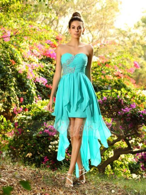 Sleeveless Sweetheart Chiffon Asymmetrical Blue Bridesmaid Dresses