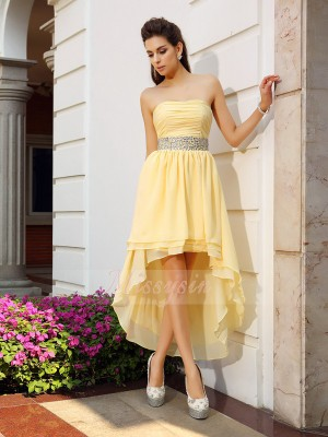 Sleeveless Strapless Chiffon Asymmetrical Yellow Cocktail Dresses