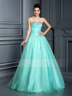 Ball Gown Sleeveless Sweetheart Organza Long Sage Dresses