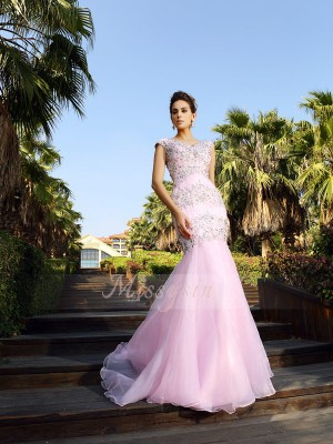 Sleeveless V-neck Satin Court Train Pink Dresses