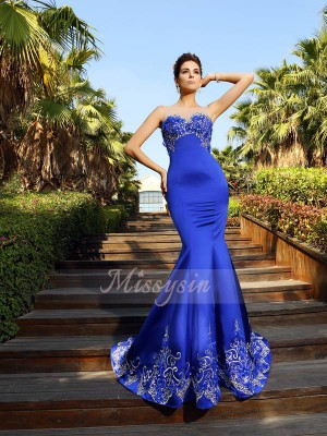 Sleeveless Sweetheart Satin Court Train Royal Blue Dresses