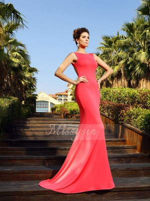 Sleeveless Bateau Spandex Court Train Watermelon Dresses