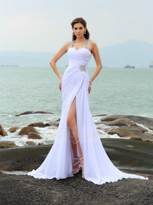 Sheath/Column Sleeveless Straps Chapel Train White Wedding Dress