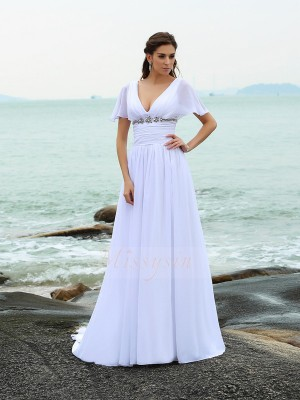 A-Line/Princess Short Sleeves V-neck Sweep/Brush Train White Wedding Dress