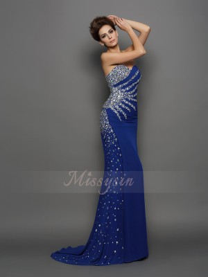 Trumpet/Mermaid Sleeveless Sweetheart Court Train Royal Blue Dress