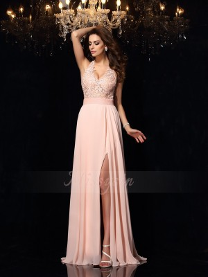 A-Line/Princess Sleeveless Halter Sweep/Brush Train Pearl Pink Dress