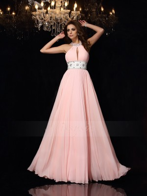 A-Line/Princess Sleeveless High Neck Long Pink Dress