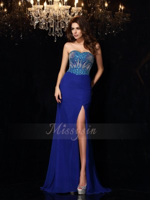 Sheath/Column Sleeveless Sweetheart Sweep/Brush Train Royal Blue Dress