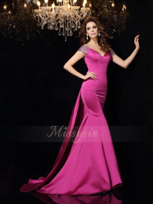 Trumpet/Mermaid Sleeveless Off-the-Shoulder Court Train Fuchsia Dress