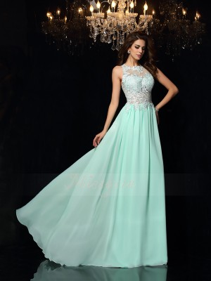 A-Line/Princess Sleeveless High Neck Sweep/Brush Train Sage Dress