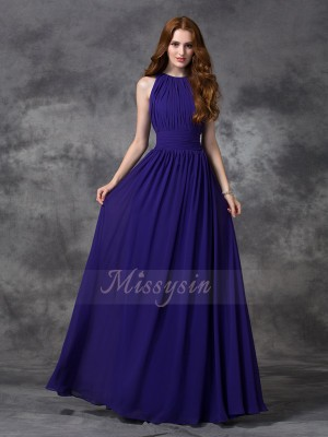 A-line/Princess Sleeveless Jewel Long Grape Bridesmaid Dresses