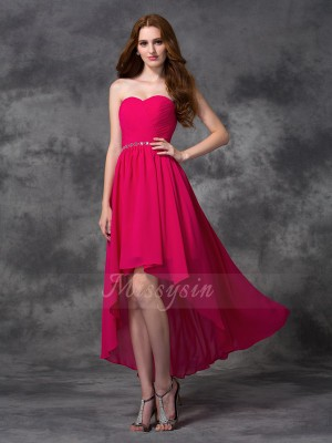 A-line/Princess Sleeveless Sweetheart Asymmetrical Fuchsia Bridesmaid Dresses