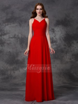 A-line/Princess Sleeveless Spaghetti Straps Long Red Bridesmaid Dresses